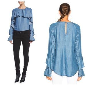 Veronica Beard Mia Cotton Chambray Shirting Blouse
